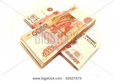 Two Stack Of Russian Banknotes