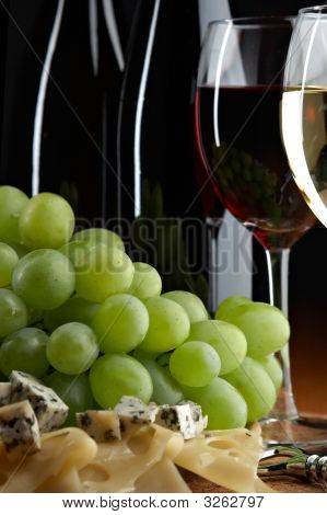 Still Life With Grape, Cheese And Wine