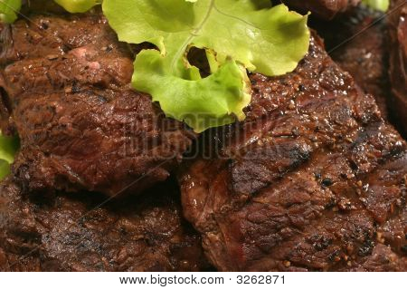 Roasted Beef Meat Over White