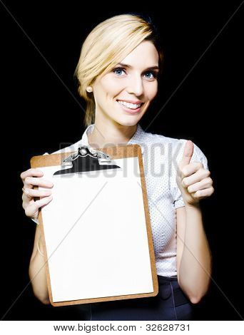 Beautiful Woman Holding Blank Clipboard