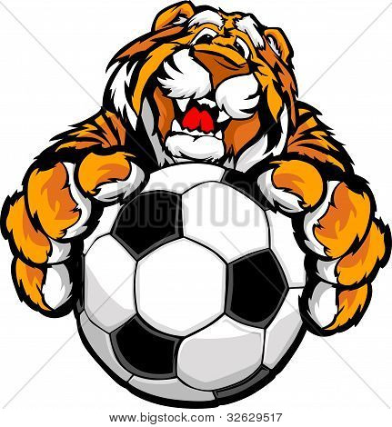 Cute Happy Tiger Mascot With Soccer Ball Vector Illustration