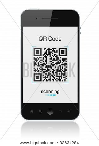 Apple Iphone mostrando código QR Scanner