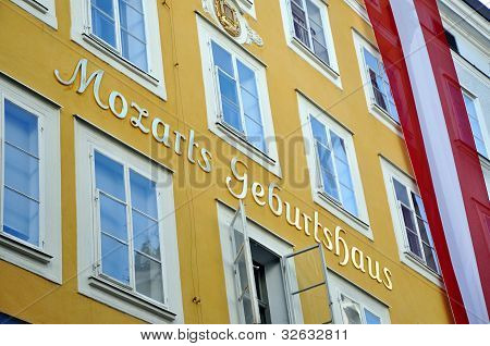 Birthplace Of The Composer Mozart In Salzburg, Austria