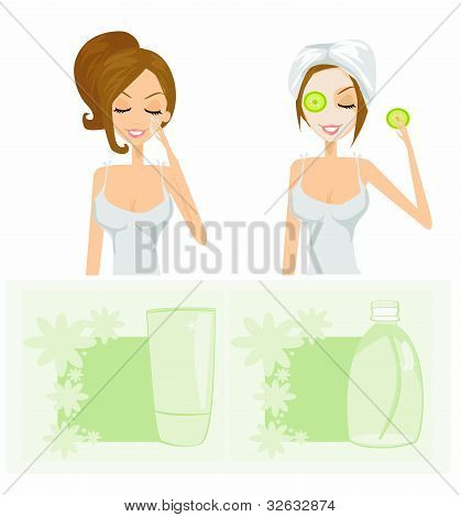 beauty women getting facial mask set