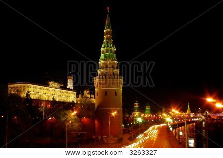 Moscow Kremlin And Government Building At Night