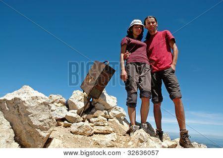 Hiker Couple On The Summit, Bobotov Peak, Montenegro