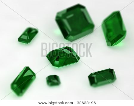 Seven Emeralds With Thin Dept Of Field