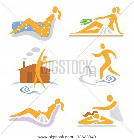 Spa wellness sauna icons