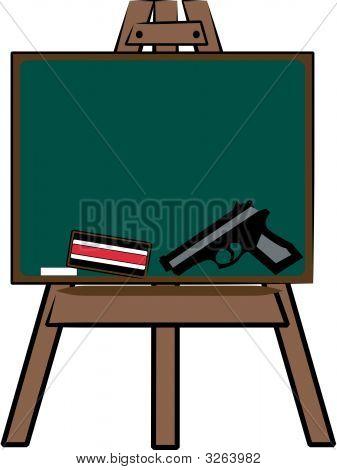 Chalkboard Easel With Handgun