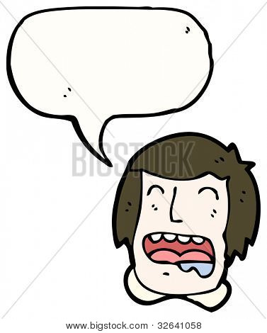 drooling man with speech bubble