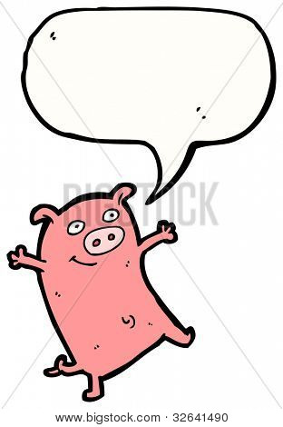 cartoon dancing pig