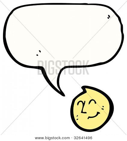 cartoon smiling face with big speech bubble