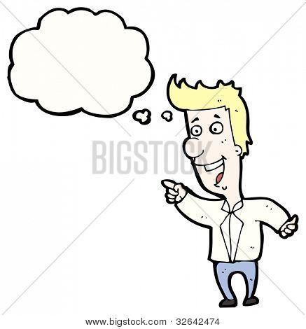 Cartoon blond Mann zeigen und lachen