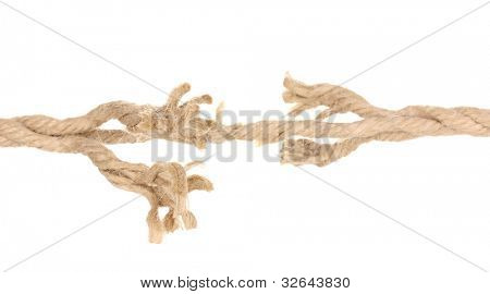 Breaking rope isolated on white