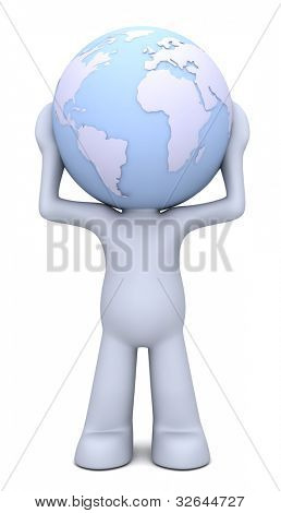 3D human character hollding planet Earth which is his head