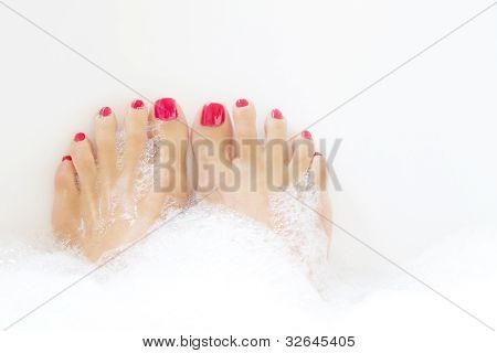 Feet Soaking In Spa Bath