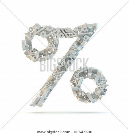 White Percent Mark Isolated On White.