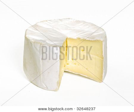 Stack of brie cheese on white background.