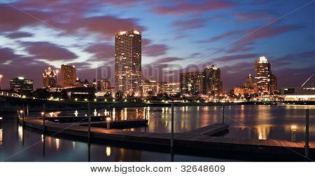 Evening Panorama Of Milwaukee
