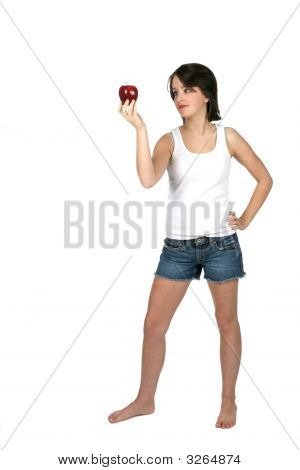 Teenage Girl Holding Red Apple