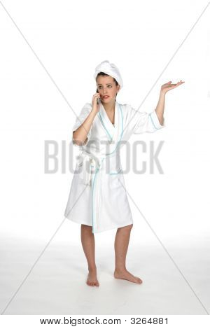 Teen In Towel And Robe On Phone With Hand Out