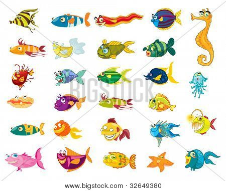 Illustrated set of marine animal cartoons - EPS VECTOR format also available in my portfolio.