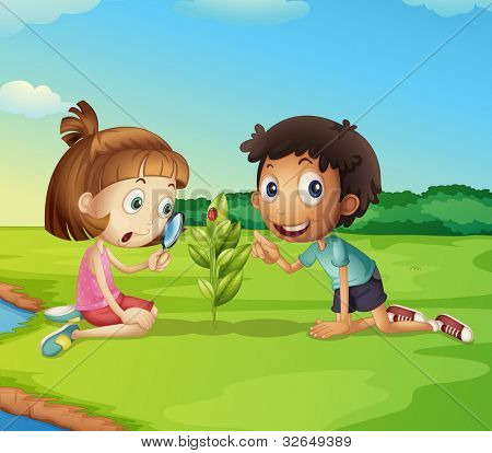 Illustration of 2 kids exploring nature - EPS VECTOR format also available in my portfolio.