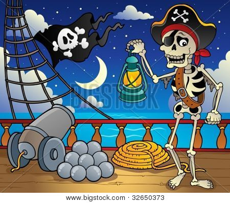 Pirate ship deck theme 6 - vector illustration.
