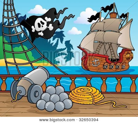 Pirate ship deck theme 4 - vector illustration.