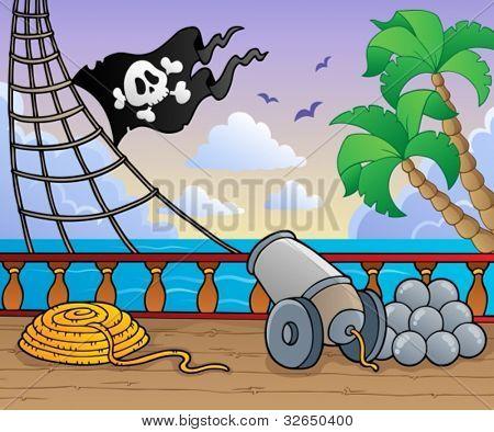 Tema de cubierta de barco de piratas 1 - ilustración vectorial.