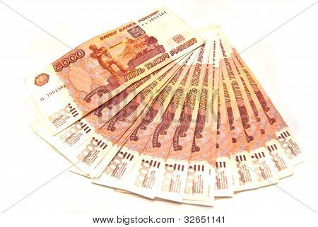 Many 5000 Rubles Banknotes
