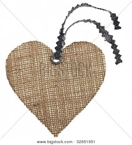 Sackcloth Tag Label Shape Heart isolated on white background