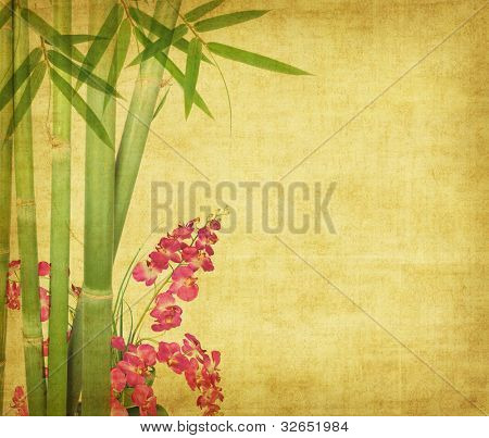 bamboo and plum blossom on old antique paper texture