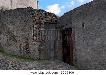 Door of the poor old house in Savoca village Sicily Italy