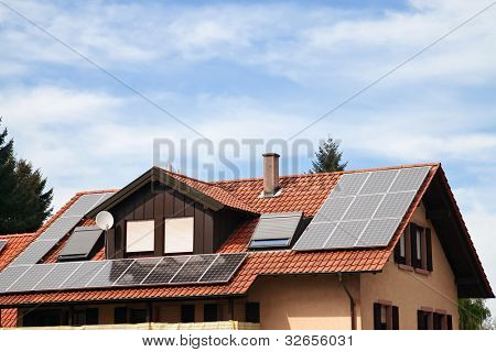 Solar panels on the roof of an apartment house