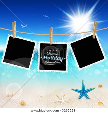 Hanging Pictures on Beautiful seaside background. Vector illustration.