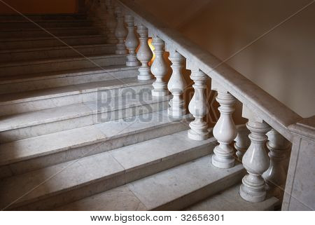 Ancient Marmoreal Stairs With Balusters