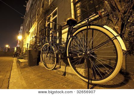 Bike in the night of Amsterdam