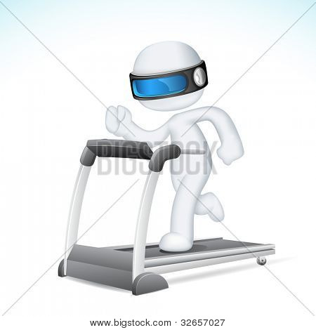 illustration of 3d Man in fully scalable vector running on treadmill