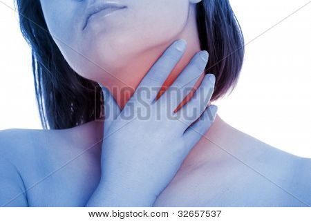A picture of a young woman suffering from tonsillitis over white background