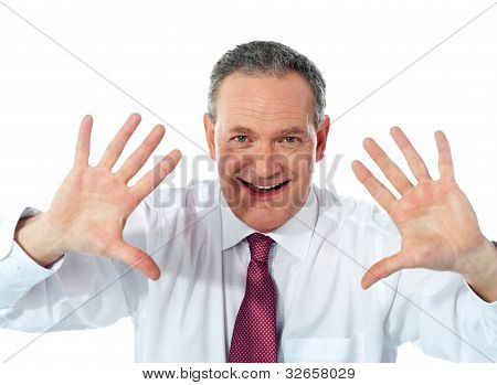 Excited Businessman. Joyful Nature
