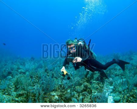 Scuba Diver Checking Gauges