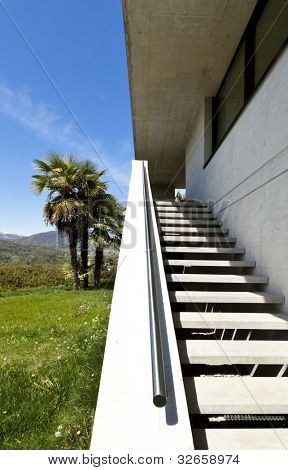 beautiful modern house in cement, outdoor, staircase