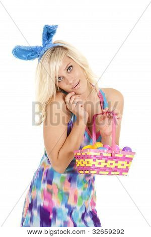 Woman Easter Basket Smile