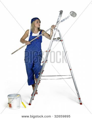 Painting Girl On A Ladder