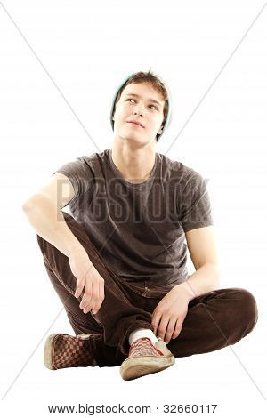 Young Man Dressed In Hip Style Thinking