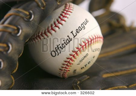 Baseball In Leather Mitt