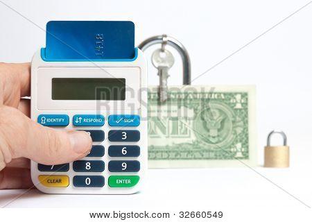 Hand held token illustrating secure internet banking