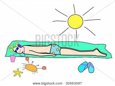 Enjoy sun bath on a beach