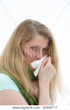 Young Girl With A Miserable Head Cold